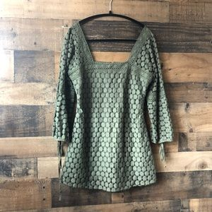 Solitaire Olive Green Crochet Detail Blouse